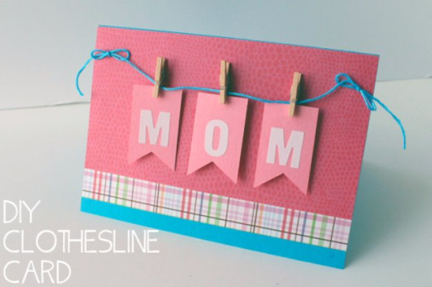 DIY Mothers Day Cards - DIY Mom Mini Clothespin Greeting Card - Creative and Thoughtful Homemade Card Ideas for Mom - Step by Step Tutorials, Best Quotes, Handmade Projects