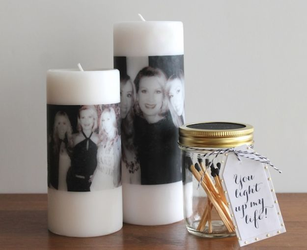 Creative DIY Mothers Day Gifts Ideas - DIY Mother's Day Photo Candle - Thoughtful Homemade Gifts for Mom. Handmade Ideas from Daughter, Son, Kids, Teens or Baby - Unique, Easy, Cheap Do It Yourself Crafts To Make for Mothers Day, complete with tutorials and instructions #mothersday