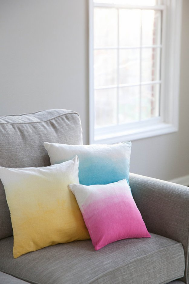 DIY Pillows and Creative Pillow Projects - DIY Ombre Pillows - Decorative Cases and Covers, Throw Pillows, Cute and Easy Tutorials for Making Crafty Home Decor - Sewing Tutorials and No Sew Ideas