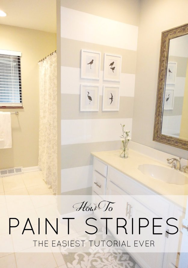 Home Improvement Hacks. - DIY Paint Stripes - Remodeling Ideas and DIY Home Improvement Made Easy With the Clever, Easy Renovation Ideas. Kitchen, Bathroom, Garage. Walls, Floors, Baseboards,Tile, Ceilings, Wood and Trim #diy #homeimprovement