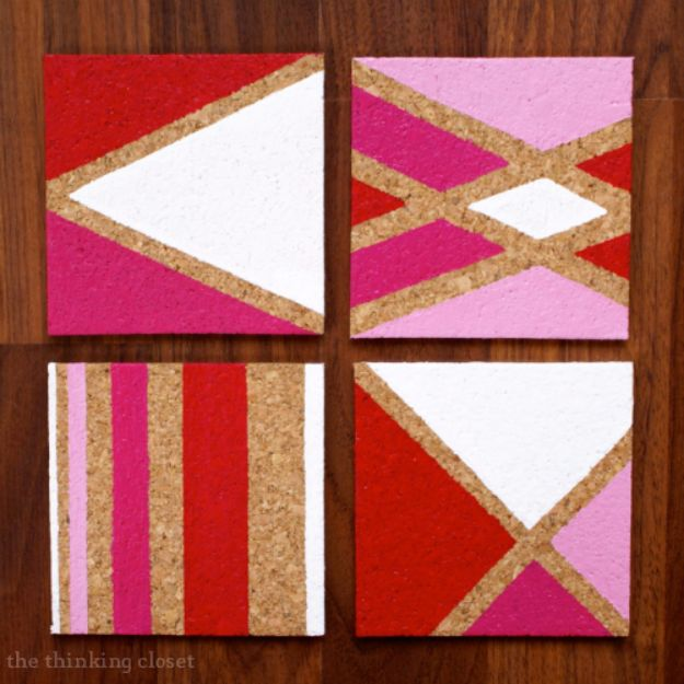 Creative DIY Mothers Day Gifts Ideas - DIY Painted Cork Coasters - Thoughtful Homemade Gifts for Mom. Handmade Ideas from Daughter, Son, Kids, Teens or Baby - Unique, Easy, Cheap Do It Yourself Crafts To Make for Mothers Day, complete with tutorials and instructions #mothersday