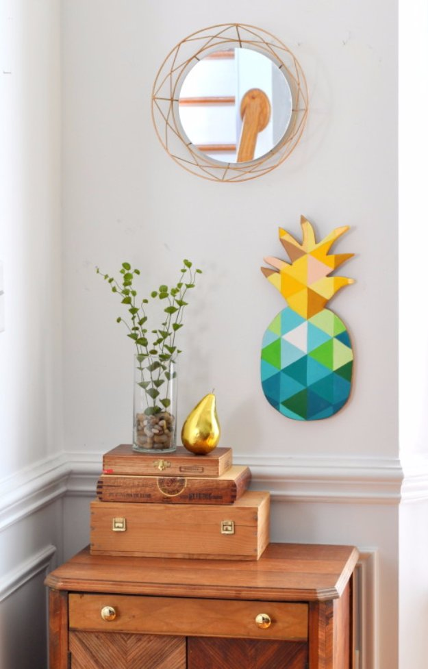 DIY Home Decor Projects for Summer - DIY Painted Geometric Pineapple - Creative Summery Ideas for Table, Kitchen, Wall Art and Indoor Decor for Summer