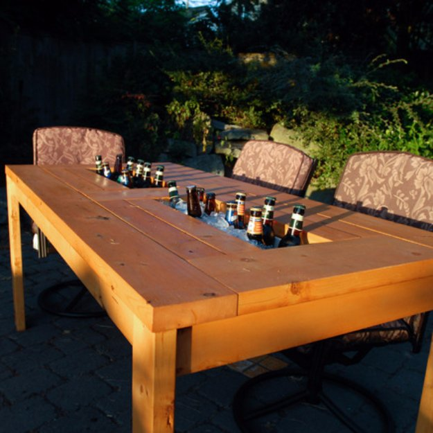 DIY Ideas to Get Your Backyard Ready for Summer - DIY Patio Table with Built-in Beer Wine Coolers - Cool Ideas for the Yard This Summer. Furniture, Games and Fun Outdoor Decor both Adults and Kids Will Enjoy