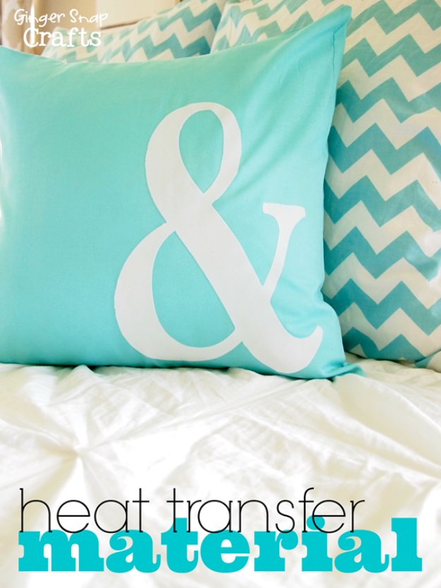 DIY Pillows and Creative Pillow Projects - DIY Pillow With Silhouette Heat Transfer Material - Decorative Cases and Covers, Throw Pillows, Cute and Easy Tutorials for Making Crafty Home Decor - Sewing Tutorials and No Sew Ideas