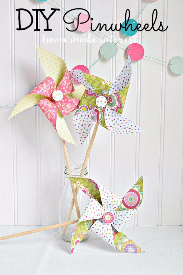 DIY Home Decor Projects for Summer - DIY Pinwheels - Creative Summery Ideas for Table, Kitchen, Wall Art and Indoor Decor for Summer