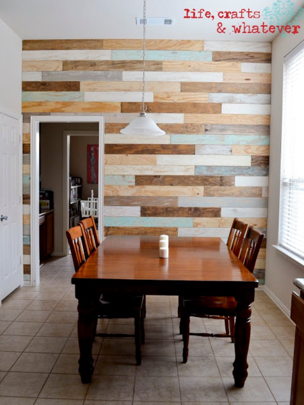 Home Improvement Hacks. - DIY Plank Wall - Remodeling Ideas and DIY Home Improvement Made Easy With the Clever, Easy Renovation Ideas. Kitchen, Bathroom, Garage. Walls, Floors, Baseboards,Tile, Ceilings, Wood and Trim. http://diyjoy.com/home-improvement-hacks