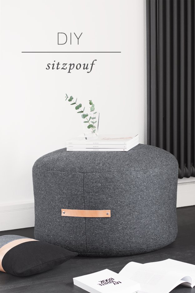 Fabulous DIY Poufs and Ottomans - DIY Pouf Ottoman - Step by Step Tutorials and Easy Patterns for Cool Home Decor. Crochet, No Sew, Leather, Moroccan Boho, Knit and Fun Fur Projects and Chair Ideas #diy #diyfurniture #sewing
