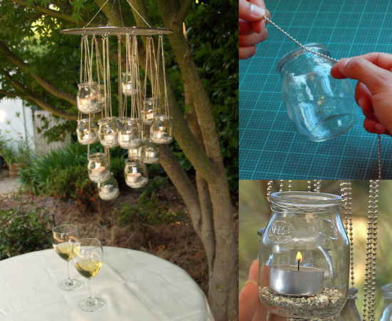 Mason Jar Lights - DIY Recycled Glass Chandelier - DIY Ideas with Mason Jars for Outdoor, Kitchen, Bathroom, Bedroom and Home, Wedding. How to Make Hanging Lanterns, Rustic Chandeliers and Pendants, Solar Lights for Outside http://diyjoy.com/diy-mason-jar-lights-lanterns