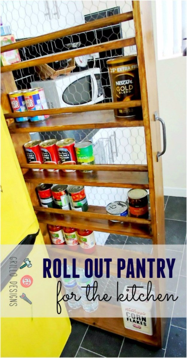 Home Improvement Hacks. - DIY Roll-Out Kitchen Pantry - Remodeling Ideas and DIY Home Improvement Made Easy With the Clever, Easy Renovation Ideas. Kitchen, Bathroom, Garage. Walls, Floors, Baseboards,Tile, Ceilings, Wood and Trim #diy #homeimprovement