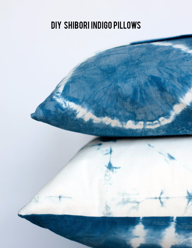 DIY Pillows and Creative Pillow Projects - DIY Shibori Indigo Pillows - Decorative Cases and Covers, Throw Pillows, Cute and Easy Tutorials for Making Crafty Home Decor - Sewing Tutorials and No Sew Ideas