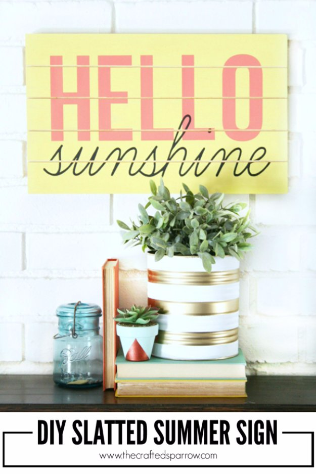 DIY Home Decor Projects for Summer -  DIY Slatted Summer Sign - Creative Summery Ideas for Table, Kitchen, Wall Art and Indoor Decor for Summer