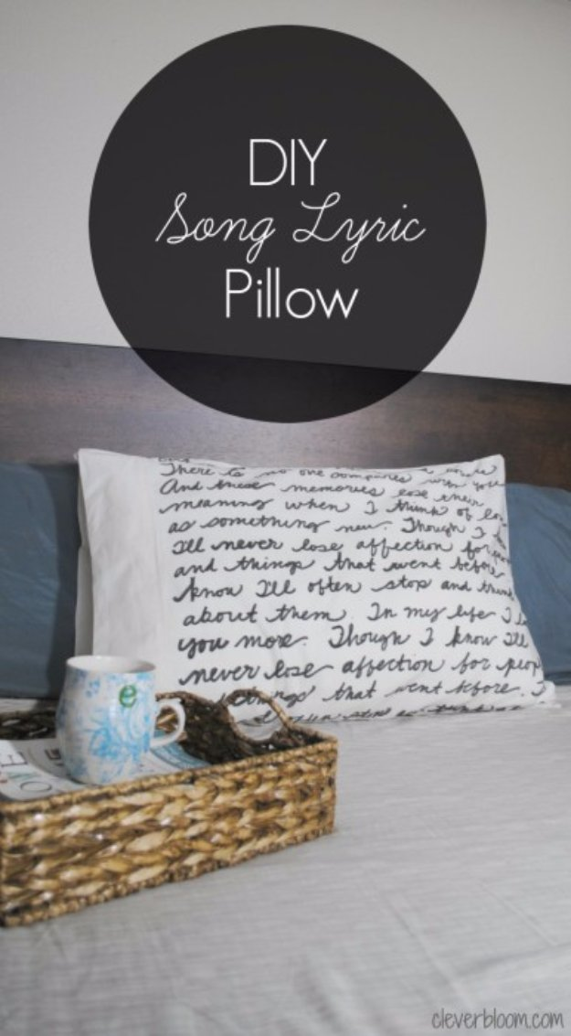 DIY Pillows and Creative Pillow Projects - DIY Song Lyric Pillow - Decorative Cases and Covers, Throw Pillows, Cute and Easy Tutorials for Making Crafty Home Decor - Sewing Tutorials and No Sew Ideas