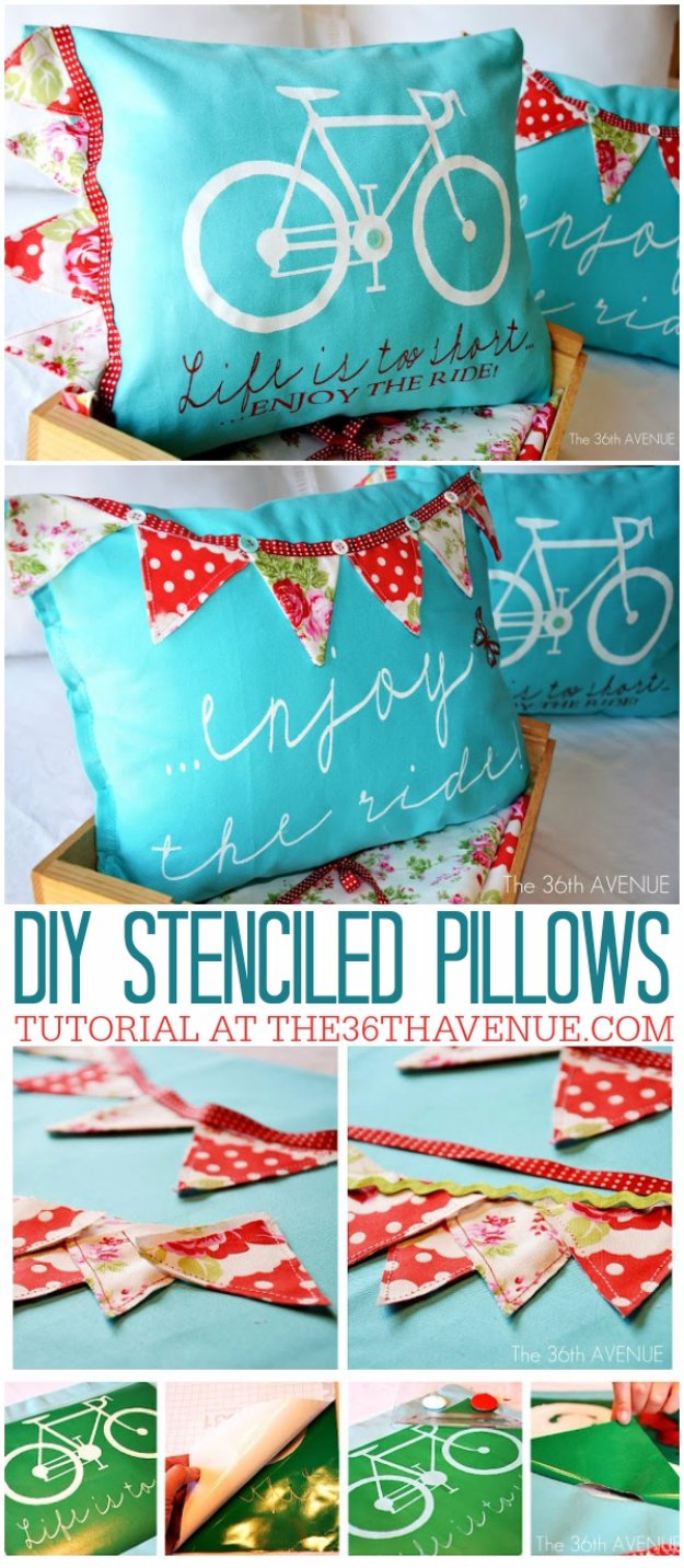 DIY Pillows and Creative Pillow Projects - DIY Stenciled Pillows - Decorative Cases and Covers, Throw Pillows, Cute and Easy Tutorials for Making Crafty Home Decor - Sewing Tutorials and No Sew Ideas