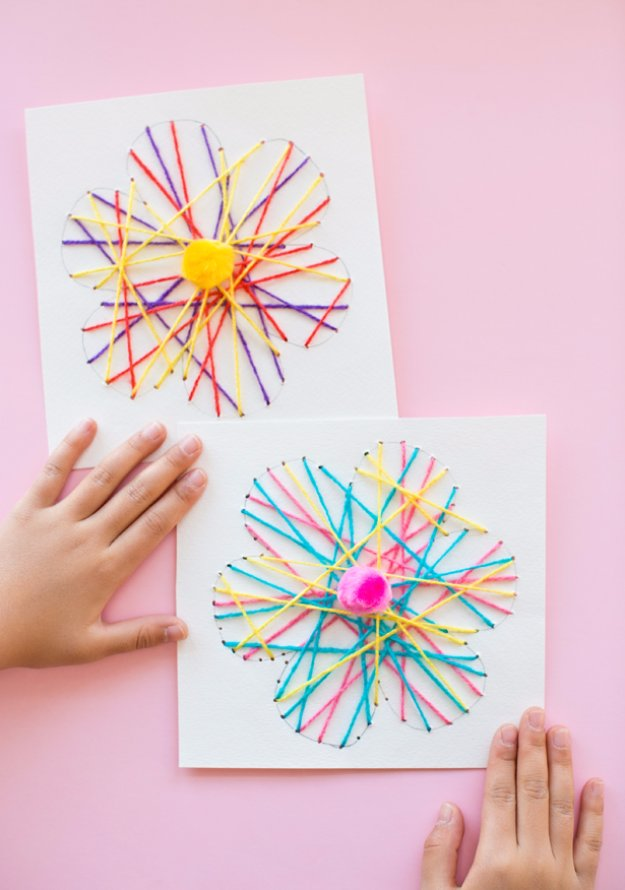 DIY Mothers Day Cards - DIY String Art Flower Card - Creative and Thoughtful Homemade Card Ideas for Mom - Step by Step Tutorials, Best Quotes, Handmade Projects