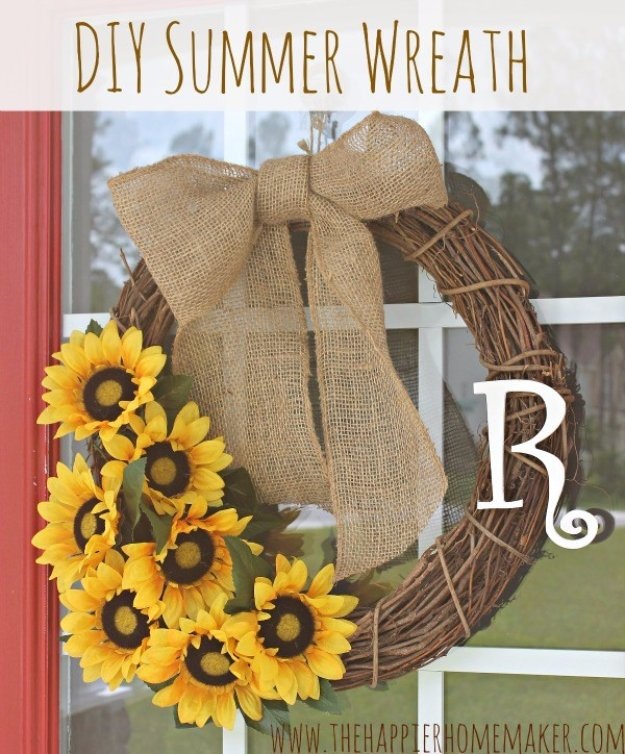 DIY Home Decor Projects for Summer - DIY Summer Sunflower Wreath - Creative Summery Ideas for Table, Kitchen, Wall Art and Indoor Decor for Summer