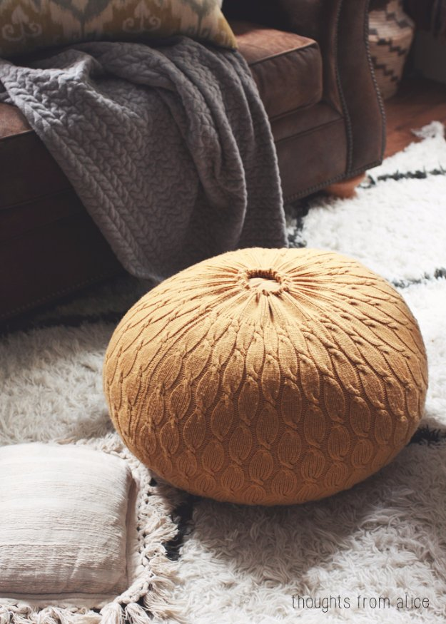 Fabulous DIY Poufs and Ottomans - DIY Sweater Pouf Ottoman - Step by Step Tutorials and Easy Patterns for Cool Home Decor. Crochet, No Sew, Leather, Moroccan Boho, Knit and Fun Fur Projects and Chair Ideas #diy #diyfurniture #sewing