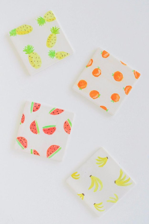 DIY Home Decor Projects for Summer - DIY Watercolor Fruit Coasters - Creative Summery Ideas for Table, Kitchen, Wall Art and Indoor Decor for Summer