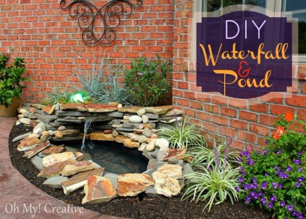 DIY Ideas to Get Your Backyard Ready for Summer - DIY Waterfall and Pond - Cool Ideas for the Yard This Summer. Furniture, Games and Fun Outdoor Decor both Adults and Kids Will Enjoy