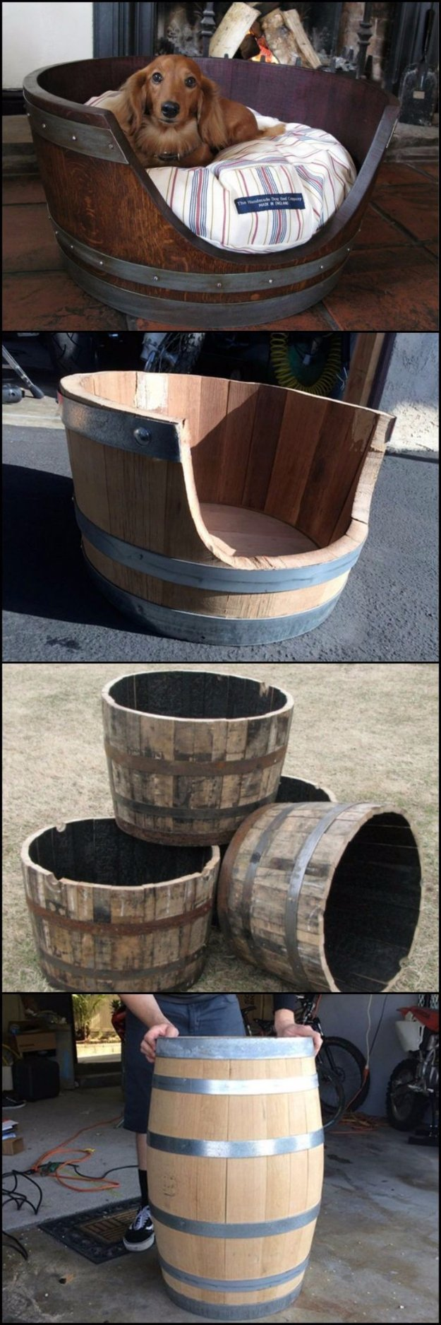 DIY Dog Beds - DIY Wine Barrel Dog Bed - Projects and Ideas for Large, Medium and Small Dogs. Cute and Easy No Sew Crafts for Your Pets. Pallet, Crate, PVC and End Table Dog Bed Tutorials #pets #diypet #dogs #diyideas