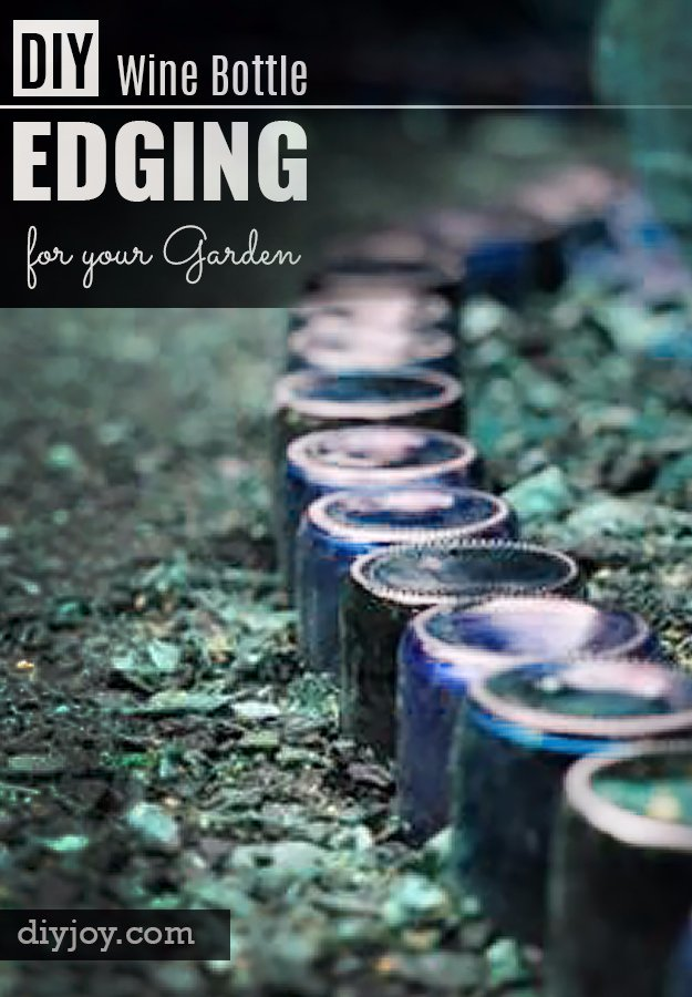DIY Ideas for Your Garden - DIY Wine Bottle Edging For Your Garden - Cool Projects for Spring and Summer Gardening - Planters, Rocks, Markers and Handmade Decor for Outdoor Gardens