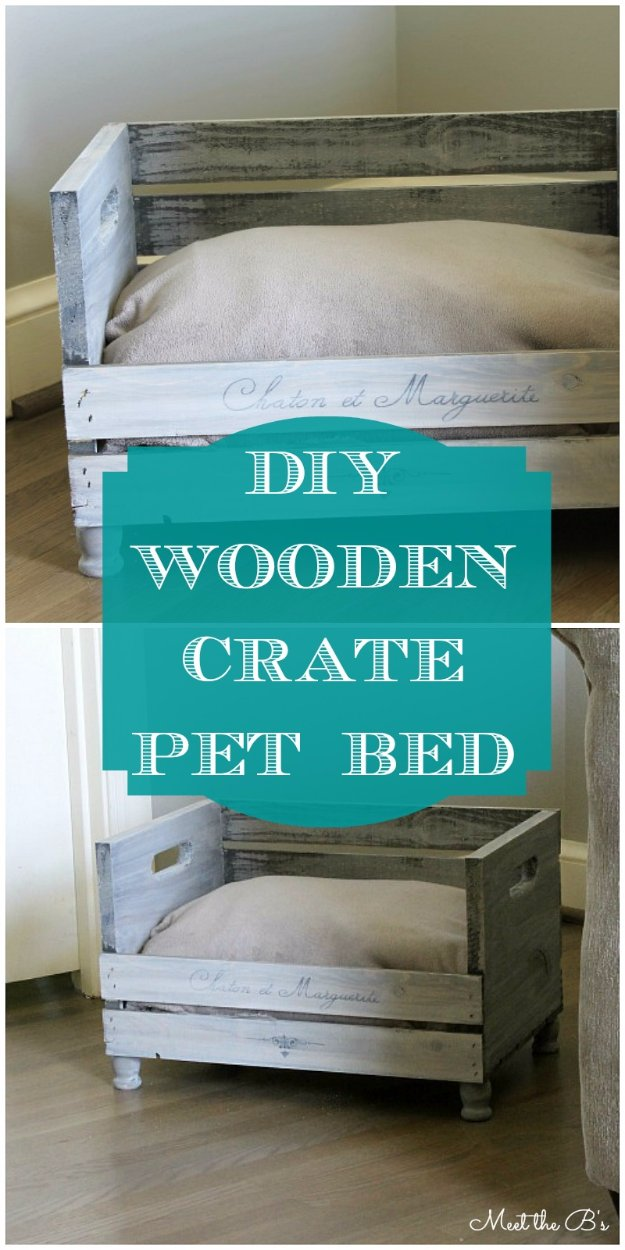 DIY Dog Beds - DIY Wooden Crate Dog Bed - Projects and Ideas for Large, Medium and Small Dogs. Cute and Easy No Sew Crafts for Your Pets. Pallet, Crate, PVC and End Table Dog Bed Tutorials #pets #diypet #dogs #diyideas