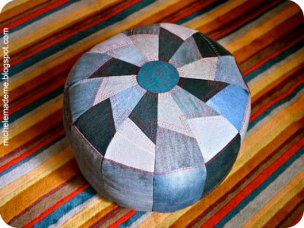 Fabulous DIY Poufs and Ottomans - Denim Pouf - Step by Step Tutorials and Easy Patterns for Cool Home Decor. Crochet, No Sew, Leather, Moroccan Boho, Knit and Fun Fur Projects and Chair Ideas #diy #diyfurniture #sewing