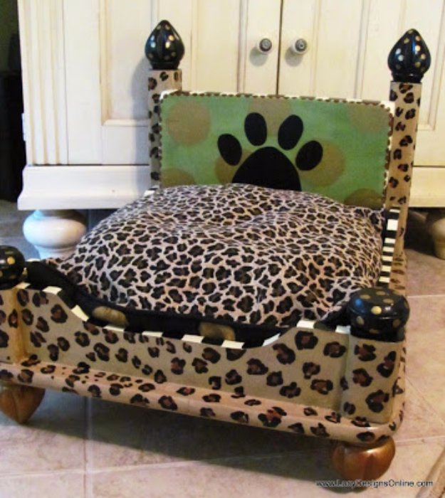 DIY Dog Beds - Dog Bed From an End Table - Projects and Ideas for Large, Medium and Small Dogs. Cute and Easy No Sew Crafts for Your Pets. Pallet, Crate, PVC and End Table Dog Bed Tutorials #pets #diypet #dogs #diyideas