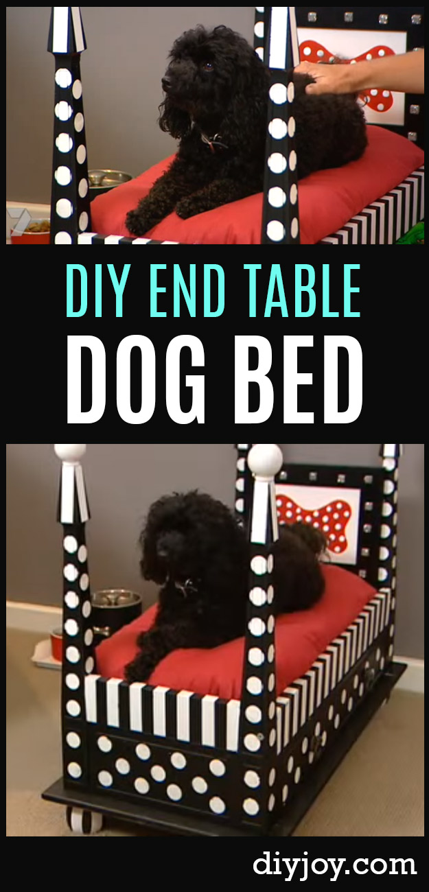 DIY Dog Beds - DIY End Table Dog Bed - Projects and Ideas for Large, Medium and Small Dogs. Cute and Easy No Sew Crafts for Your Pets. Pallet, Crate, PVC and End Table Dog Bed Tutorials #pets #diypet #dogs #diyideas