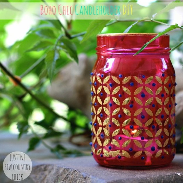 Mason Jar Ideas for Summer - Easy Boho Chic Mason Jar Candle Holders - Mason Jar Crafts, Decor and Gifts, Centerpieces and DIY Projects With Jars That Are Perfect For Summertime - Fun and Easy Lights, Cool Vases, Creative 4th of July Ideas
