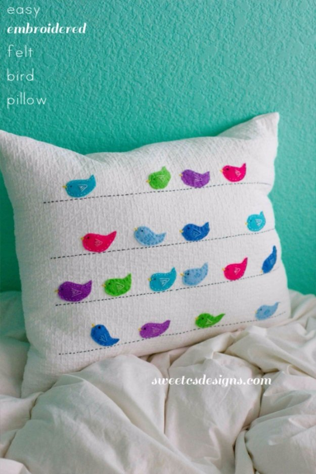 DIY Pillows and Creative Pillow Projects - Easy Embroidered Felt Birds Pillow - Decorative Cases and Covers, Throw Pillows, Cute and Easy Tutorials for Making Crafty Home Decor - Sewing Tutorials and No Sew Ideas