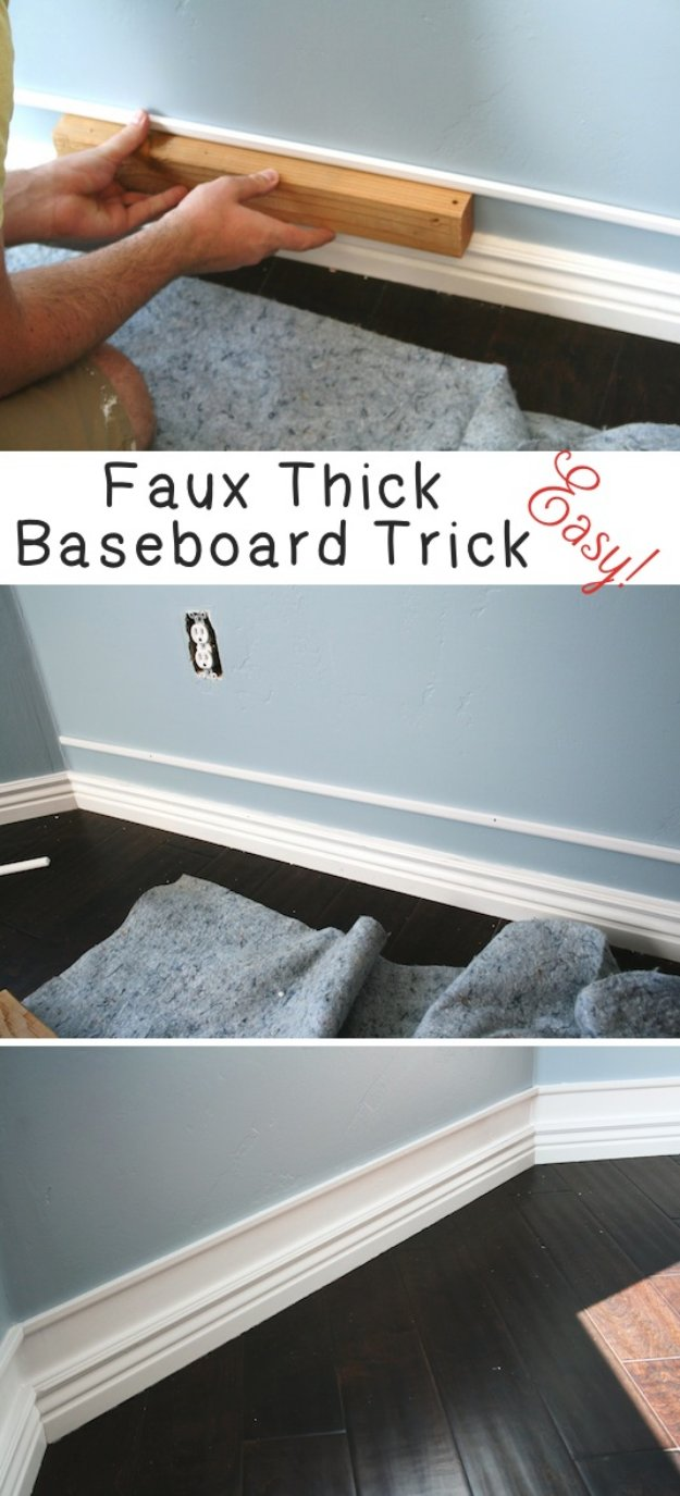 Home Improvement Hacks. - Easy Faux Thick Baseboard Trick - Remodeling Ideas and DIY Home Improvement Made Easy With the Clever, Easy Renovation Ideas. Kitchen, Bathroom, Garage. Walls, Floors, Baseboards,Tile, Ceilings, Wood and Trim #diy #homeimprovement
