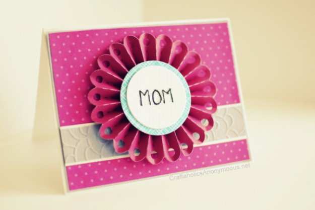 DIY Mothers Day Cards - Embossed Flower Card For Mom - Creative and Thoughtful Homemade Card Ideas for Mom - Step by Step Tutorials, Best Quotes, Handmade Projects