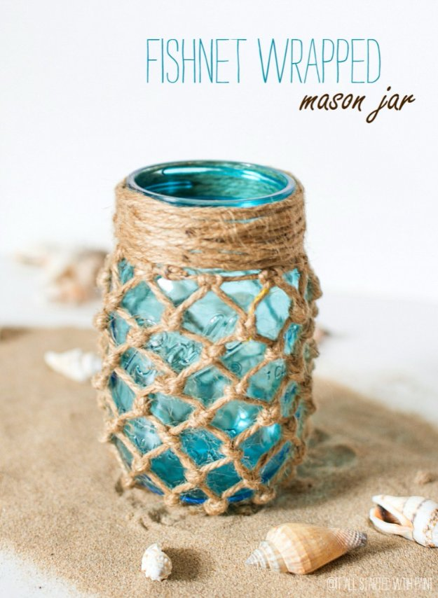 Mason Jar Ideas for Summer - Fishnet Wrapped Mason Jar - Mason Jar Crafts, Decor and Gifts, Centerpieces and DIY Projects With Jars That Are Perfect For Summertime - Fun and Easy Lights, Cool Vases, Creative 4th of July Ideas