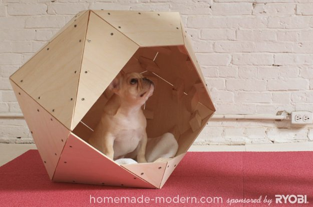 DIY Dog Beds - Geometric Doghouse - Projects and Ideas for Large, Medium and Small Dogs. Cute and Easy No Sew Crafts for Your Pets. Pallet, Crate, PVC and End Table Dog Bed Tutorials #pets #diypet #dogs #diyideas