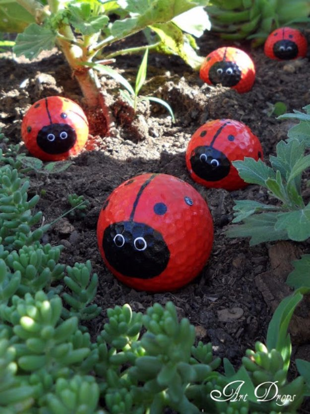 DIY Ideas for Your Garden - Golf Ball Ladybugs - Cool Projects for Spring and Summer Gardening - Planters, Rocks, Markers and Handmade Decor for Outdoor Gardens