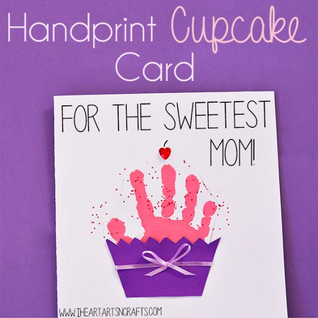 DIY Mothers Day Cards - Handprint Cupcake Card - Creative and Thoughtful Homemade Card Ideas for Mom - Step by Step Tutorials, Best Quotes, Handmade Projects