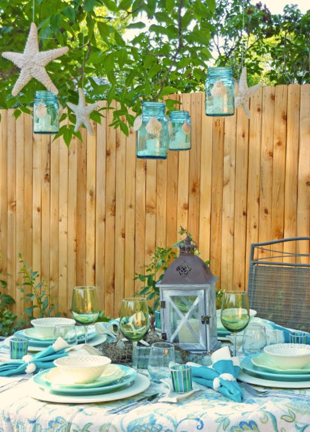 DIY Ideas to Get Your Backyard Ready for Summer - Hanging Beach Lanterns - Cool Ideas for the Yard This Summer. Furniture, Games and Fun Outdoor Decor both Adults and Kids Will Enjoy