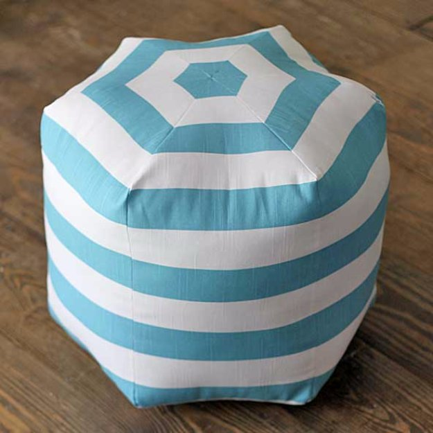 Fabulous DIY Poufs and Ottomans - Hexagon Floor Pouf - Step by Step Tutorials and Easy Patterns for Cool Home Decor. Crochet, No Sew, Leather, Moroccan Boho, Knit and Fun Fur Projects and Chair Ideas http://diyjoy.com/diy-floor-poufs
