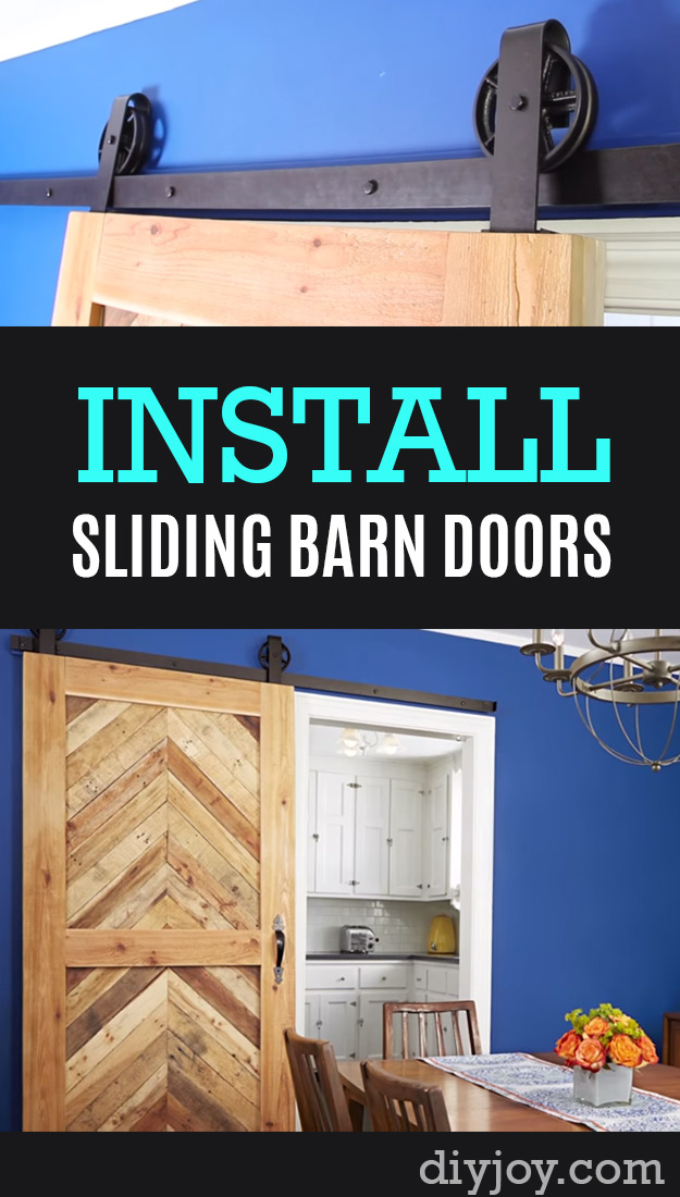 33 Home Repair Secrets From the Pros - Install-Sliding-Barn-Doors-P - Home Repair Ideas, Home Repairs On A Budget, Home Repair Tips, Living Room, Bedroom, Kitchen Repair, Home Improvement, Quick And Easy Home Tips http://diyjoy.com/diy-home-repair-secrets