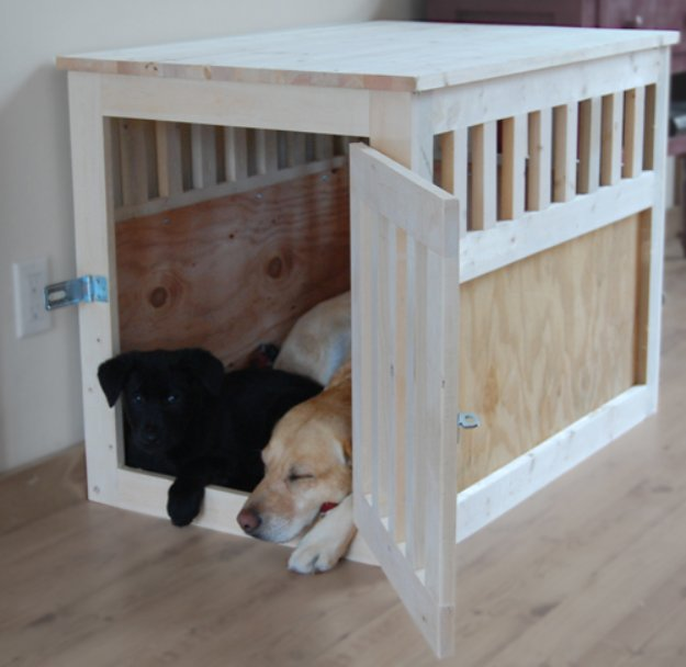 DIY Dog Beds - Large Wood Pet Kennel End Table - Projects and Ideas for Large, Medium and Small Dogs. Cute and Easy No Sew Crafts for Your Pets. Pallet, Crate, PVC and End Table Dog Bed Tutorials #pets #diypet #dogs #diyideas