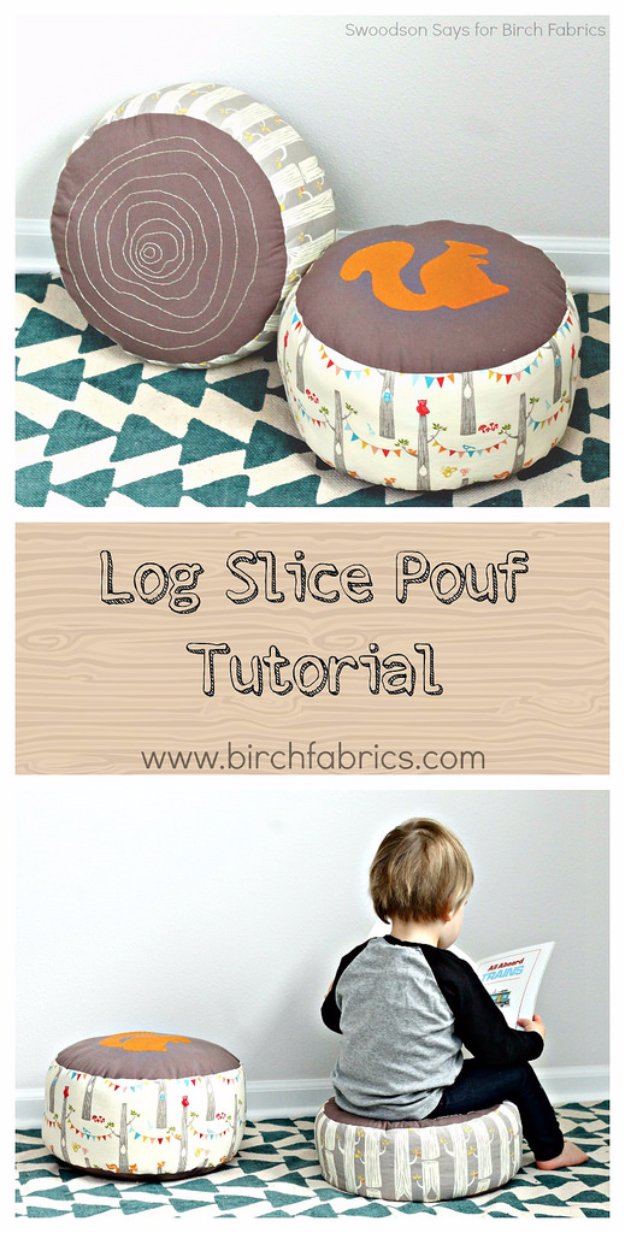 Fabulous DIY Poufs and Ottomans - Log Slice Pouf - Step by Step Tutorials and Easy Patterns for Cool Home Decor. Crochet, No Sew, Leather, Moroccan Boho, Knit and Fun Fur Projects and Chair Ideas http://diyjoy.com/diy-floor-poufs