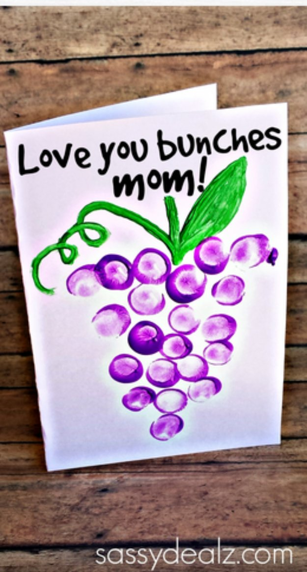 DIY Mothers Day Cards - Love You Bunches Thumbprint Mother's Day Card - Creative and Thoughtful Homemade Card Ideas for Mom - Step by Step Tutorials, Best Quotes, Handmade Projects