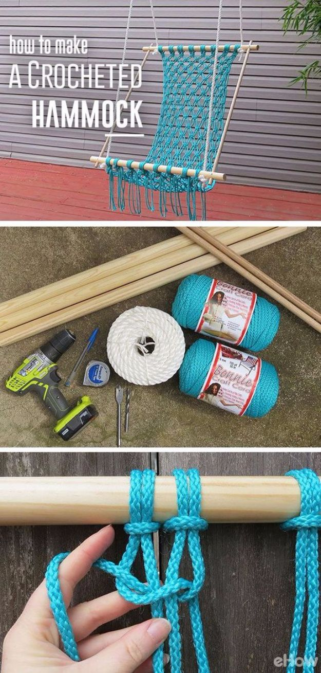 Creative DIY Mothers Day Gifts Ideas - Macrame Hammock - Thoughtful Homemade Gifts for Mom. Handmade Ideas from Daughter, Son, Kids, Teens or Baby - Unique, Easy, Cheap Do It Yourself Crafts To Make for Mothers Day, complete with tutorials and instructions #mothersday