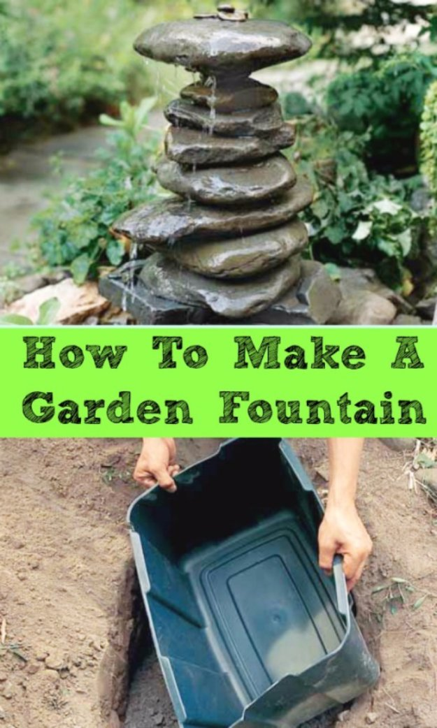 DIY Ideas for Your Garden - Make A Garden Fountain Out of Anything - Cool Projects for Spring and Summer Gardening - Planters, Rocks, Markers and Handmade Decor for Outdoor Gardens