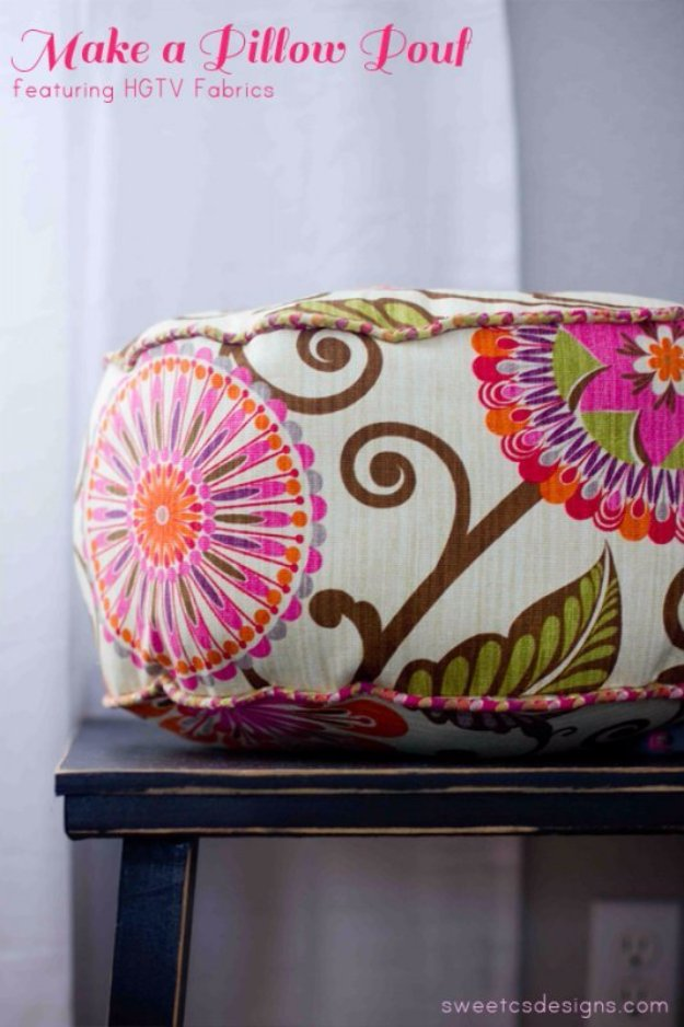 Fabulous DIY Poufs and Ottomans - Make a Pillow Pouf - Step by Step Tutorials and Easy Patterns for Cool Home Decor. Crochet, No Sew, Leather, Moroccan Boho, Knit and Fun Fur Projects and Chair Ideas #diy #diyfurniture #sewing