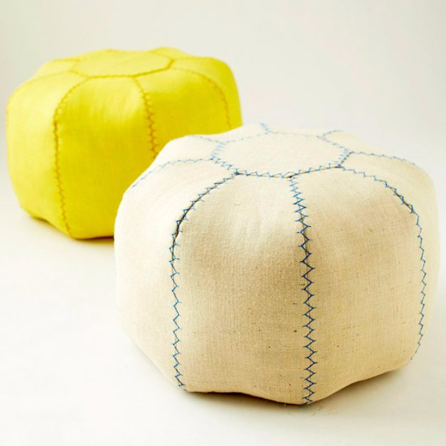 Fabulous DIY Poufs and Ottomans - Make a Pretty Pouf - Step by Step Tutorials and Easy Patterns for Cool Home Decor. Crochet, No Sew, Leather, Moroccan Boho, Knit and Fun Fur Projects and Chair Ideas #diy #diyfurniture #sewing