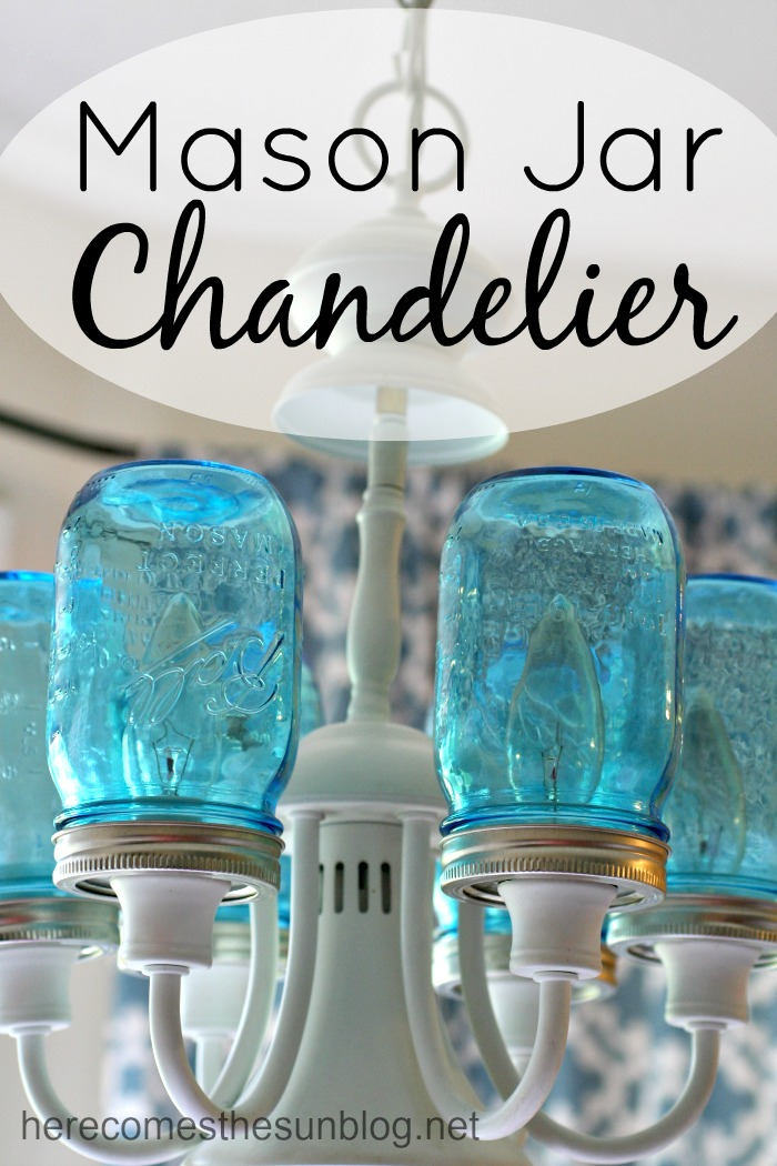 Mason Jar Lights - Mason Jar Chandelier - DIY Ideas with Mason Jars for Outdoor, Kitchen, Bathroom, Bedroom and Home, Wedding. How to Make Hanging Lanterns, Rustic Chandeliers and Pendants, Solar Lights for Outside http://diyjoy.com/diy-mason-jar-lights-lanterns