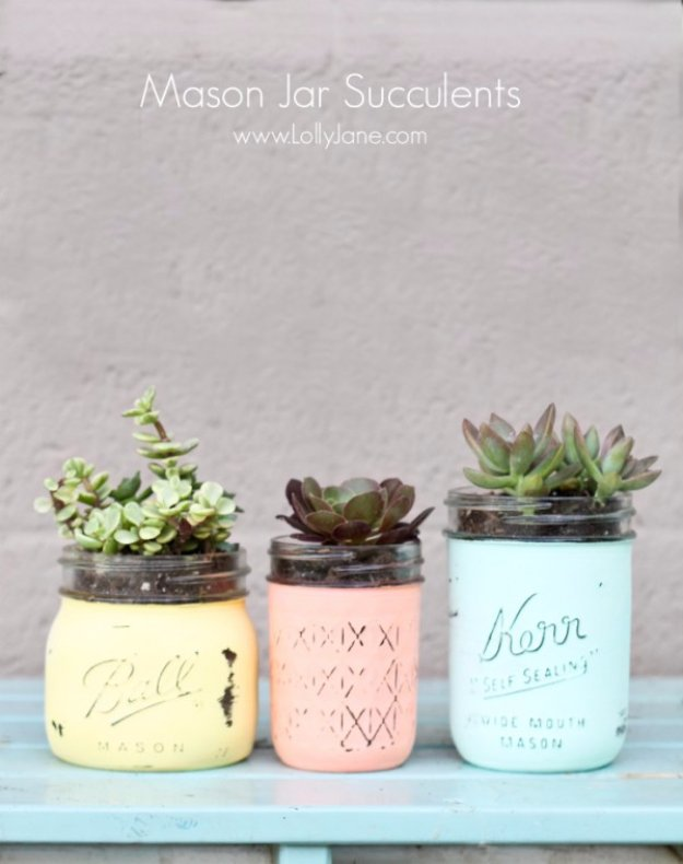 Mason Jar Ideas for Summer - Mason Jar Succulent Pot - Mason Jar Crafts, Decor and Gifts, Centerpieces and DIY Projects With Jars That Are Perfect For Summertime - Fun and Easy Lights, Cool Vases, Creative 4th of July Ideas