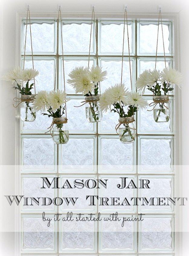 Mason Jar Ideas For Summer   Mason Jar Window Treatment   Mason Jar Crafts,  Decor