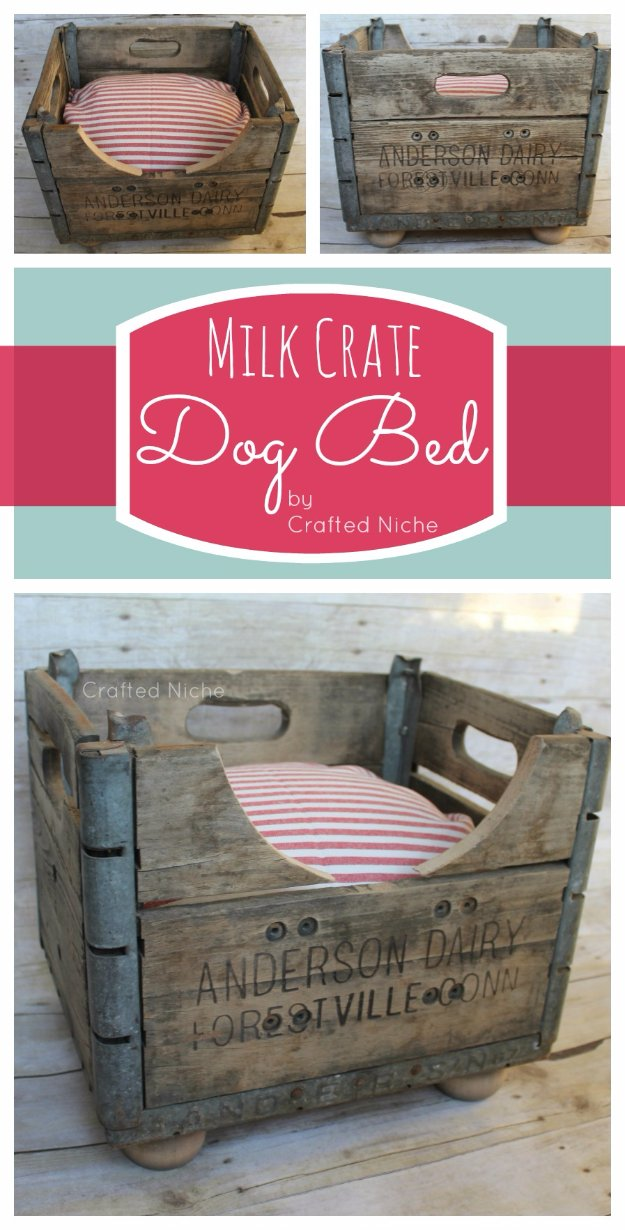 DIY Dog Beds - Milk Crate Dog Bed - Projects and Ideas for Large, Medium and Small Dogs. Cute and Easy No Sew Crafts for Your Pets. Pallet, Crate, PVC and End Table Dog Bed Tutorials #pets #diypet #dogs #diyideas
